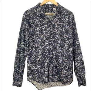 Paul Smith blue floral cotton button down shirt  L